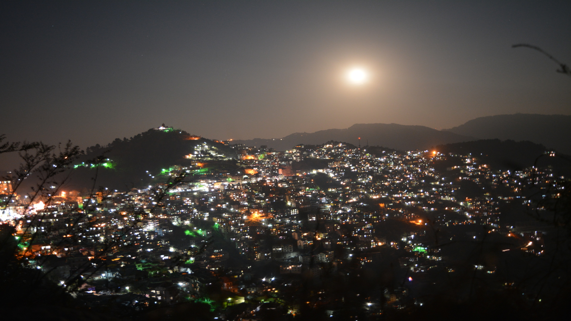 Night view of Shimla Full moon