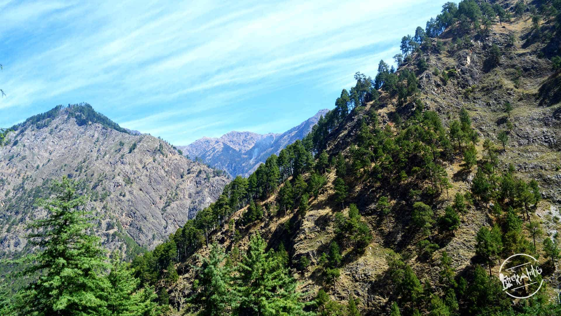 trekking towards Grahan Village