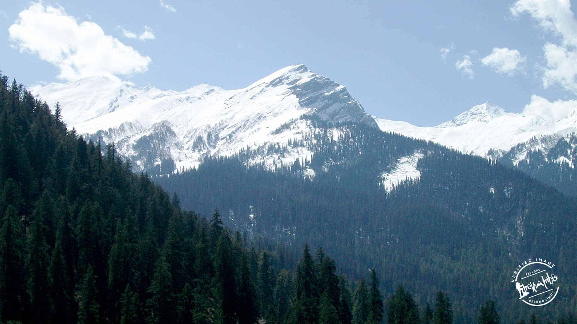 snow capped peak view from Kheerganga
