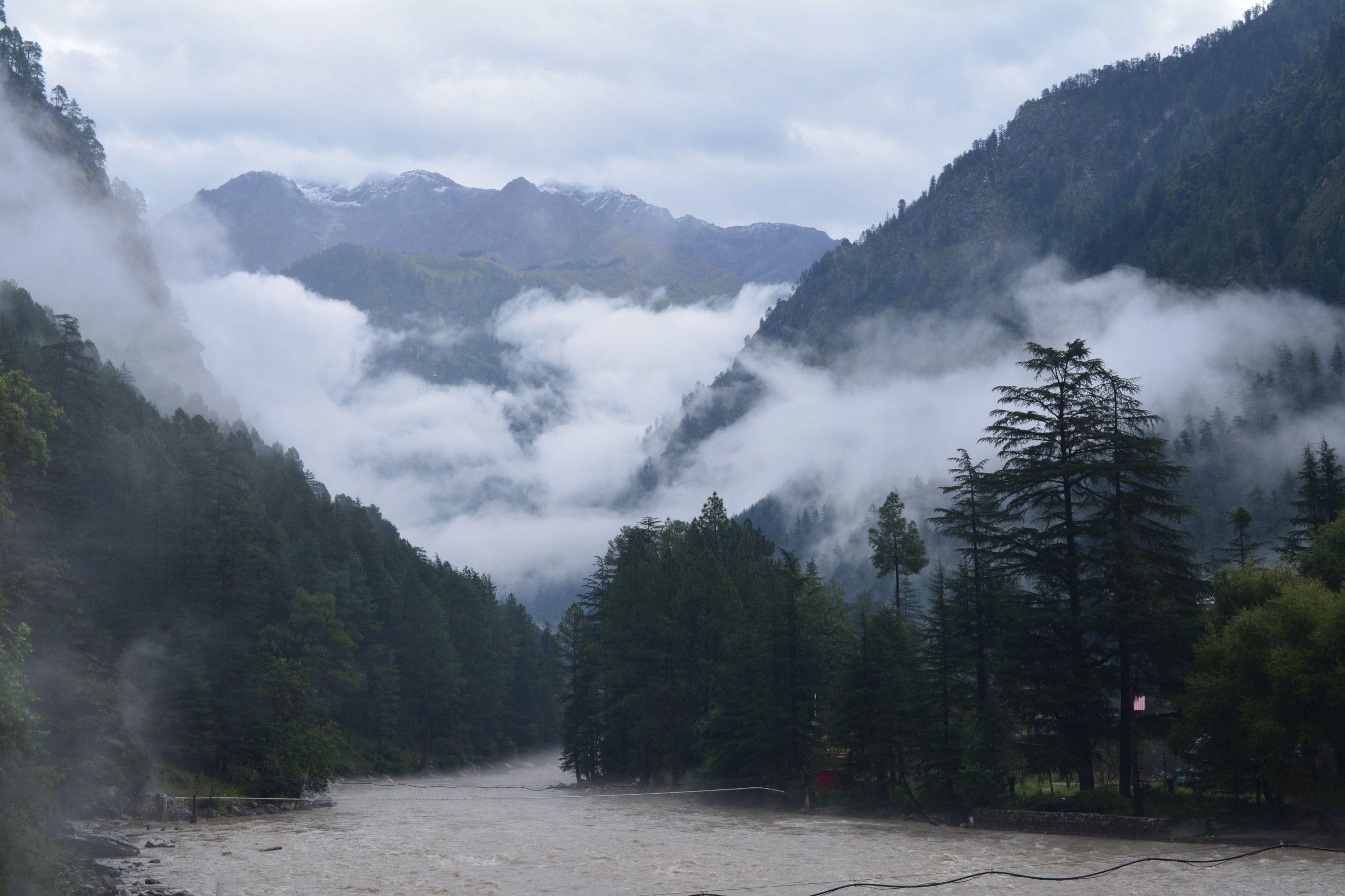 view from challal bridge - parvati valley wilderness