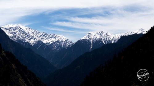 View from Rashol (Parvati Valley)- Sar pass to the left & Khali pass to the right